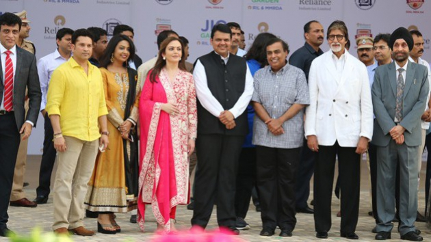 Sachin Tendulkar, Nita Ambani, Mukesh Ambani, Amitabh Bachchan with Devendra Fadnavis at the Jio Garden at BKC Mumbai
