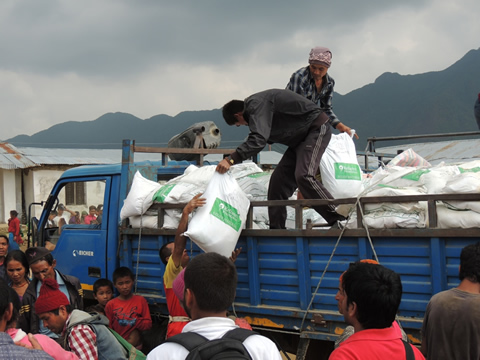 Distribution of Relief Material Through Mission Rahat in Nepal by Reliance Foundation
